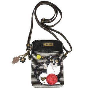 Chala Black Striped FAT CAT CELL PHONE Crossbody
